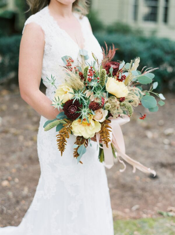Autumnal Wildflower, Eucalyptus and Rose Bouquet