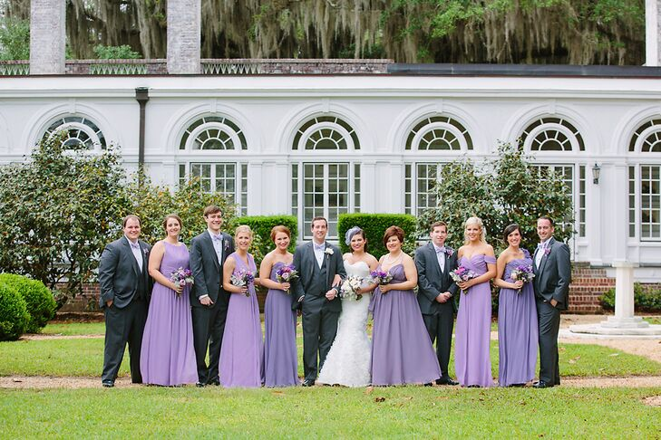 Lilac Bridesmaids Dresses And Gray Groomsmen Suits