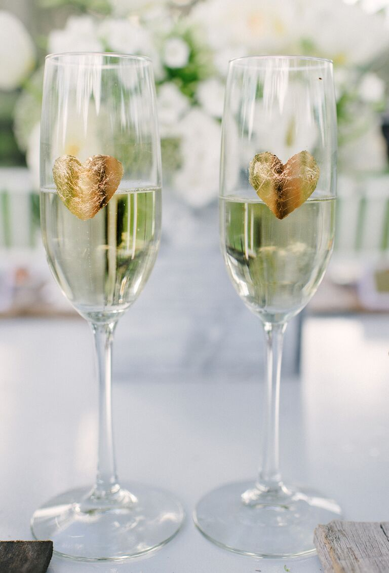 DIY champagne glasses toasting