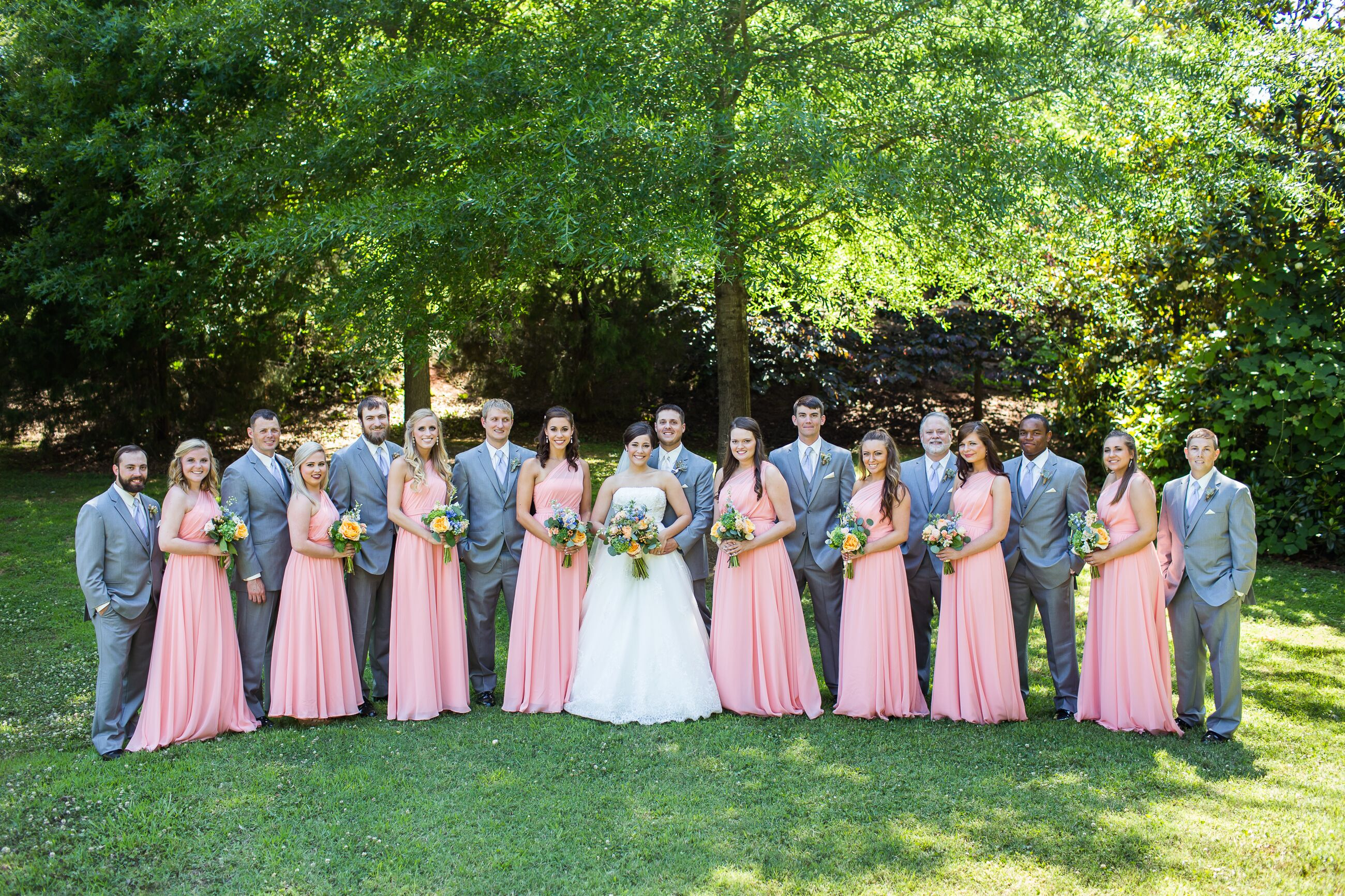 light gray and peach wedding party