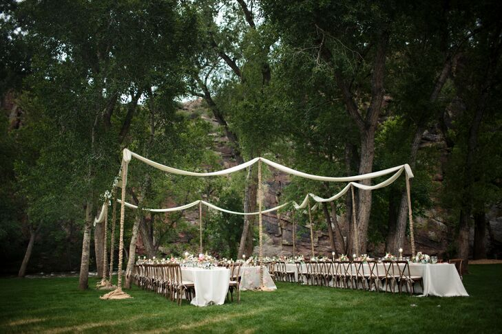 Guests Ate Dinner Beneath A Canopy Of Leafy Trees Where Long Party Style