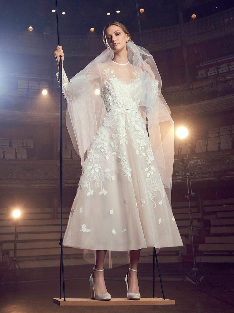 Elie saab fall 2018 collection bridal fashion week photos elie saab fall 2018 tea length wedding dress with floral and vine appliqu and illusion junglespirit Image collections