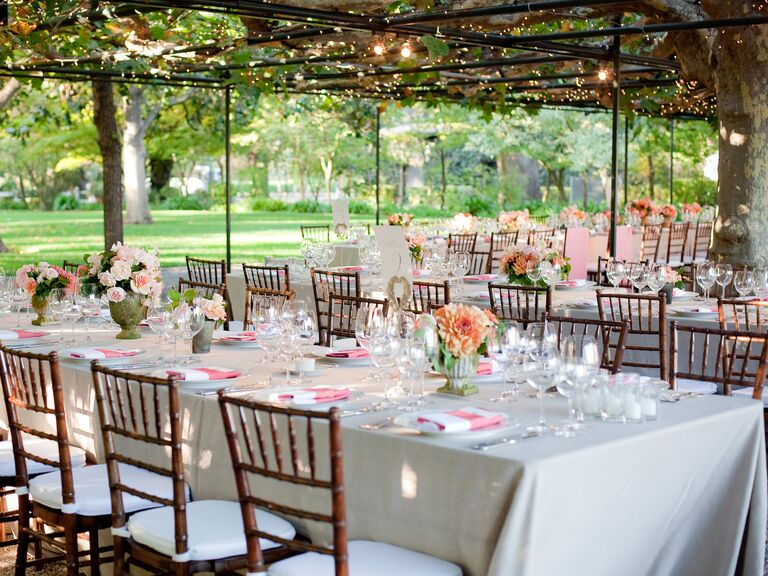 Peach and pink outdoor wedding reception