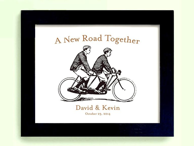etsy framed bike print gay lesbian wedding gift ideas - Wedding Gift Ideas