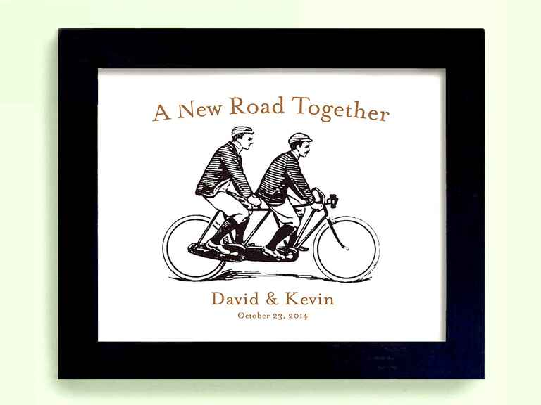 Etsy framed bike print gay lesbian wedding gift ideas