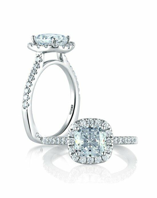 A.JAFFE Cathedral Open Bridge Halo Cushion Engagement Ring, MES577 Engagement Ring photo