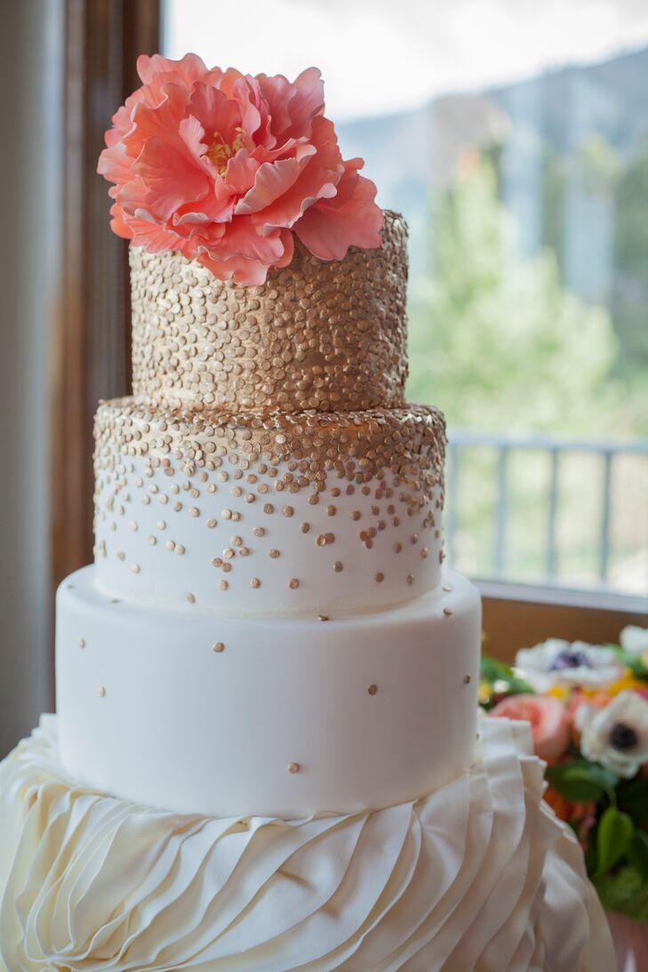 Gold Polka-Dot Wedding Cake With Sugar Peony Topper