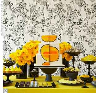 black and gold modern dessert table