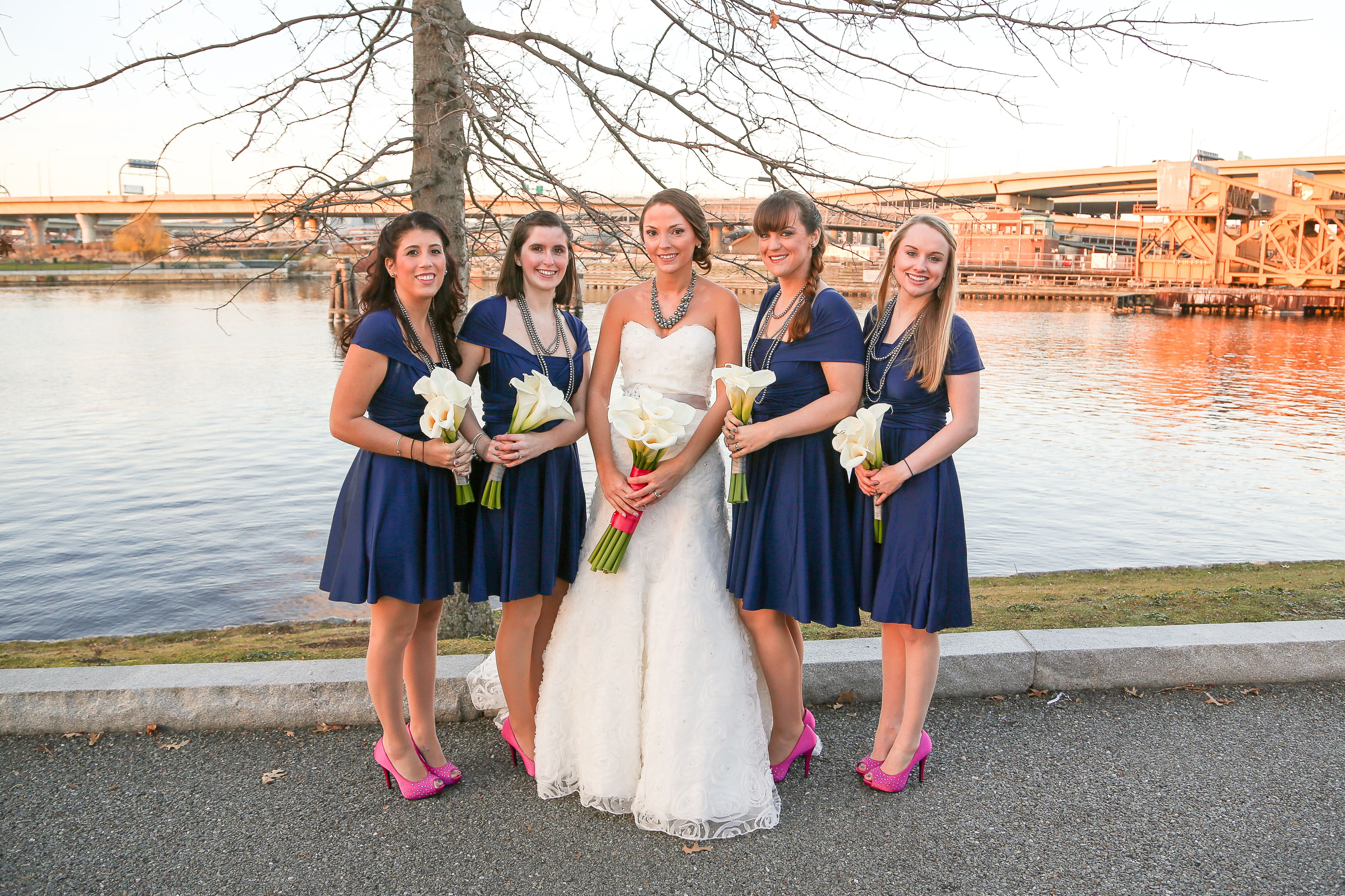 navy bridesmaids dresses with pink shoes