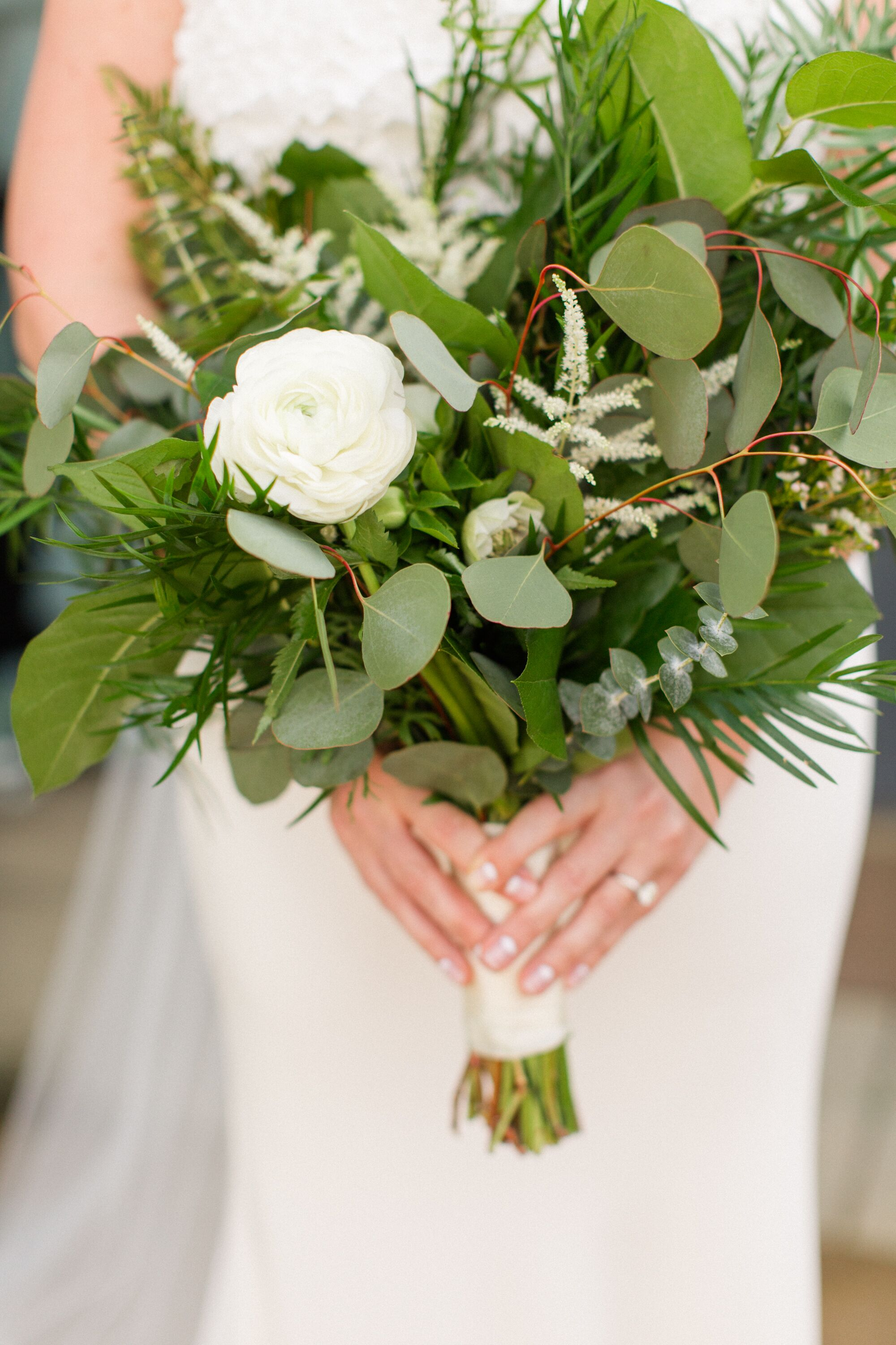 Greenery Filled Bouquet With White Ranunculus And Eucalyptus