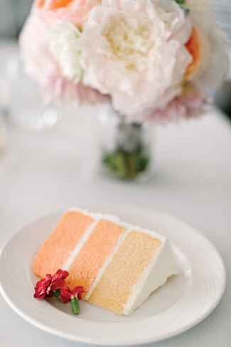 Pink wedding cake with subtle ombre design