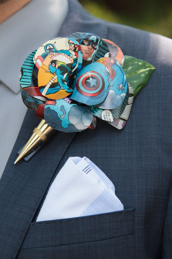 Paper Flower Comic Book Boutonniere