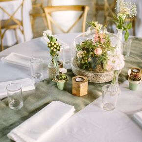 Natural Wood Reception Table Centerpieces