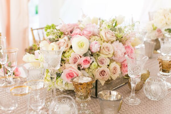 Blush rose wedding centerpieces low centerpiece with anemones hydrangeas and roses mightylinksfo