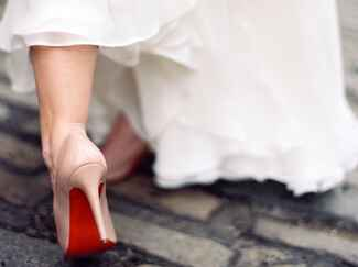 Bride's Christian Louboutin wedding shoes