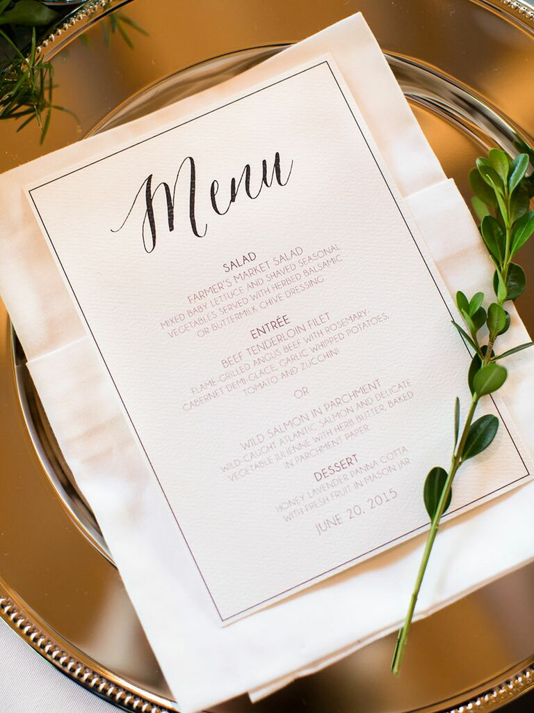 Top wedding reception food catering trends for Ideas for dinner menu