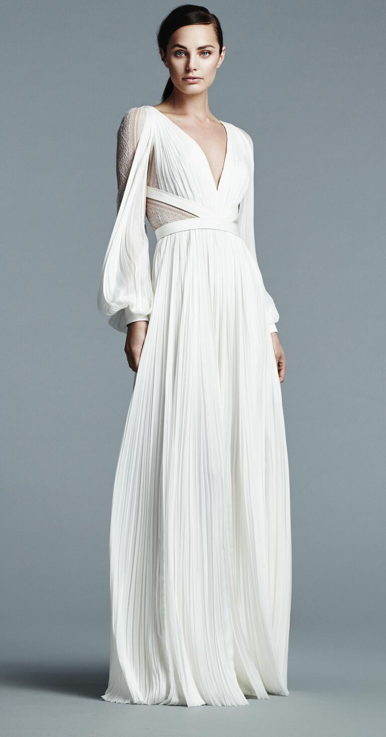J Mendel deep V neck wedding dress with lace sleeves and pleated skirt Spring 2017