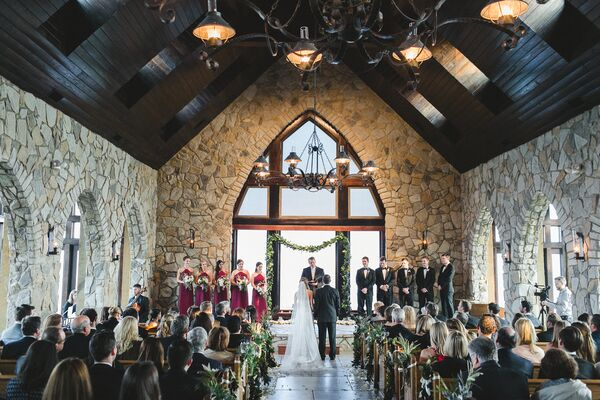 Elegant Ceremony at Glassy Chapel of The Cliffs