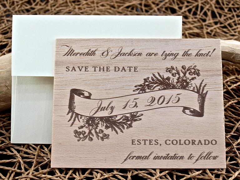 Carved wood save-the-date from Plum Blossom Press
