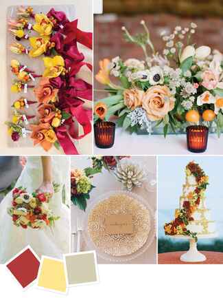Cinnamon and yellow fall wedding color combination