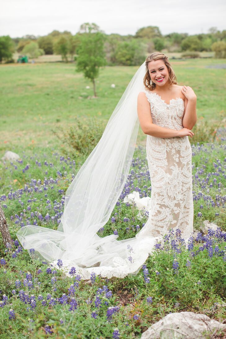 Champagne Bridal Gown with White Lace Overlay