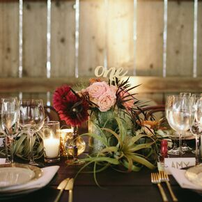 Whimsical Gold Table Numbers And Succulent Centerpieces