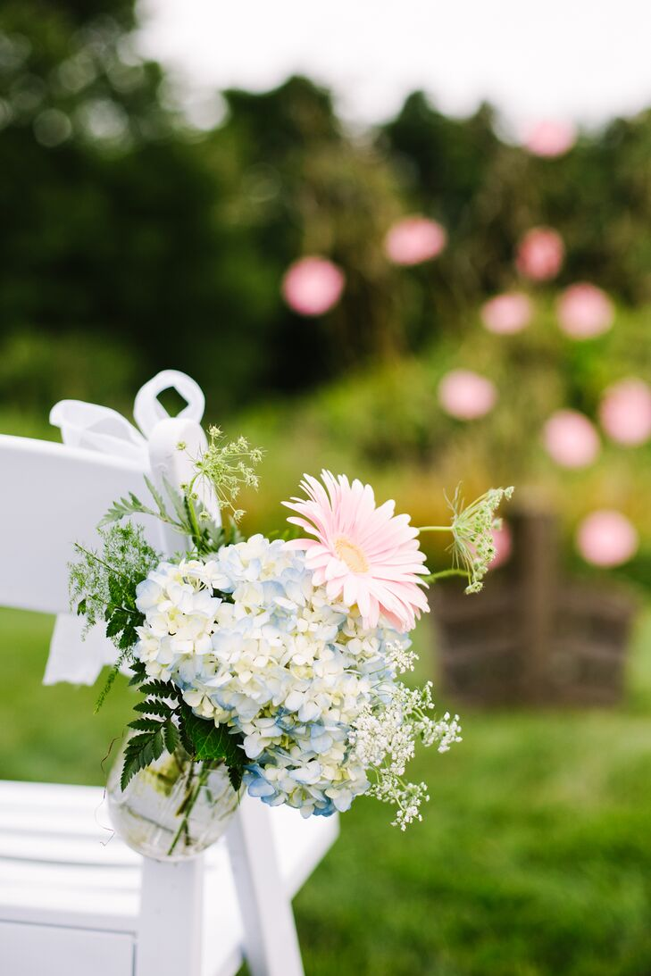 Hydrangea and Daisy Aisle Decorations