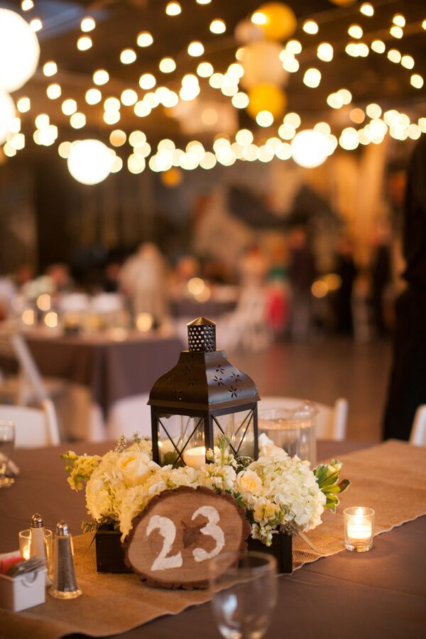 Lantern Centerpiece With Burlap Table Runner