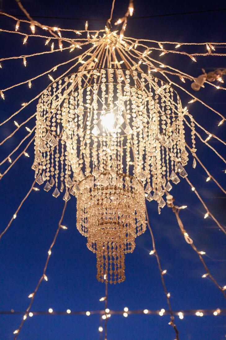 String Lights With Chandelier : Elegant Crystal Chandelier and String Lighting