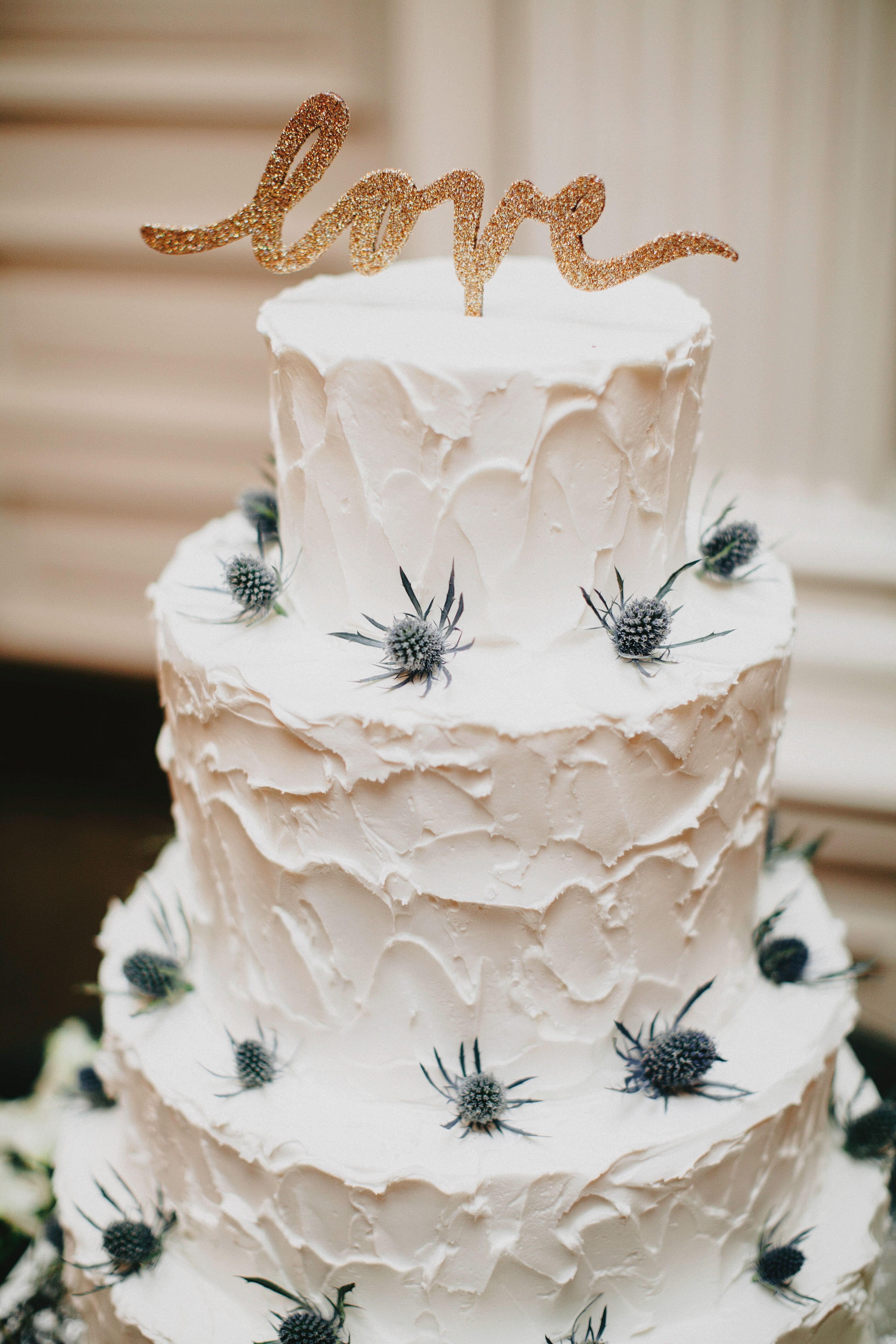 Rustic Blue Thistle Decorated Wedding Cake