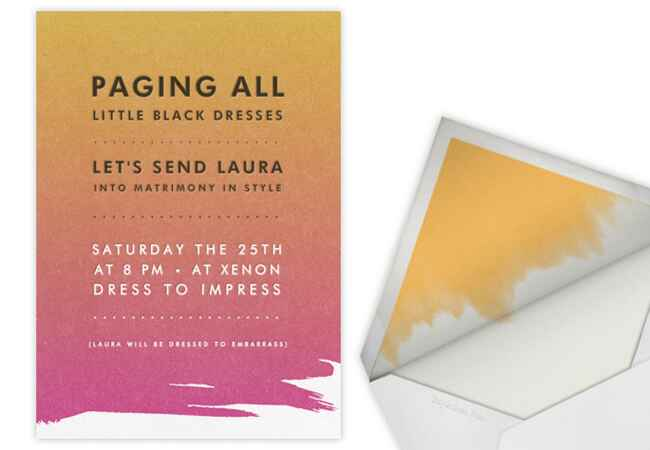 Bachelorette party and bridal shower online invitations: Paperless Post / TheKnot.com