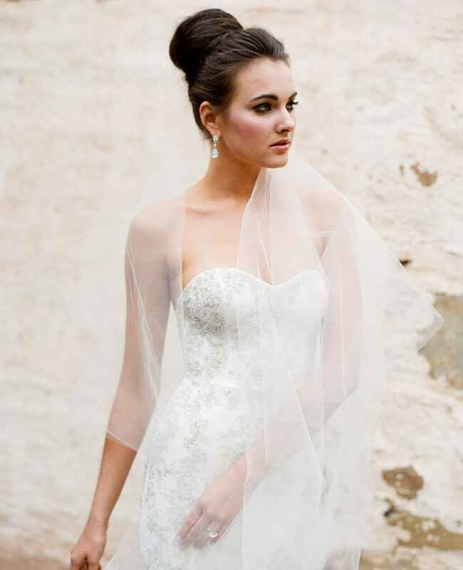 Kenneth Pool wedding gown with Twigs and Honey veil | Jose Villa | blog.theknot.com
