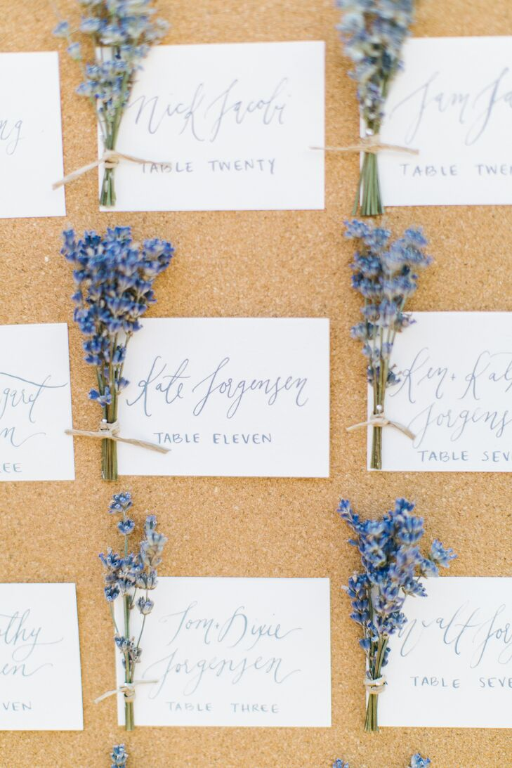Bethany, Bryn and Ben's super-talented calligrapher, wrote all the escort cards for the wedding in a purple color that perfectly went with the otherwise-neutral palette. The cards were accented with purple wildflowers to go with the garden theme, and were displayed on a simple cork board.