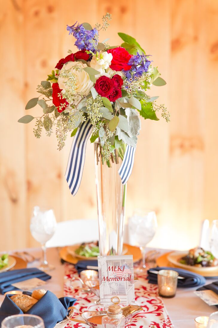 Red white and blue trumpet style vase centerpiece