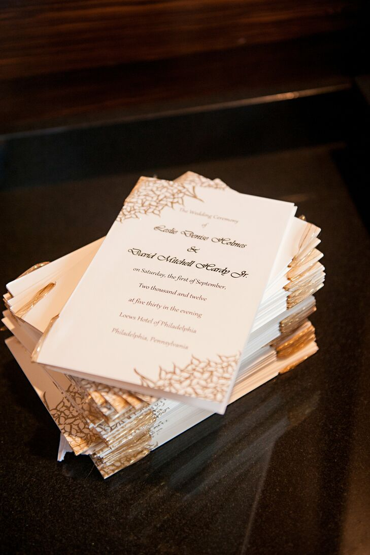 Cream And Gold Wedding Programs