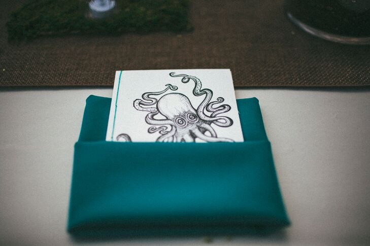 For wedding favors, Colin designed a cover with a sketch of an octopus that contained a burned CD of the couple's favorite songs.