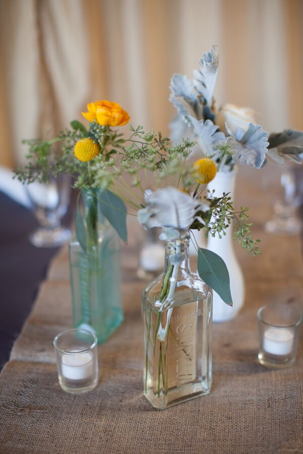 Craspedia and Dusty Miller Centerpiece