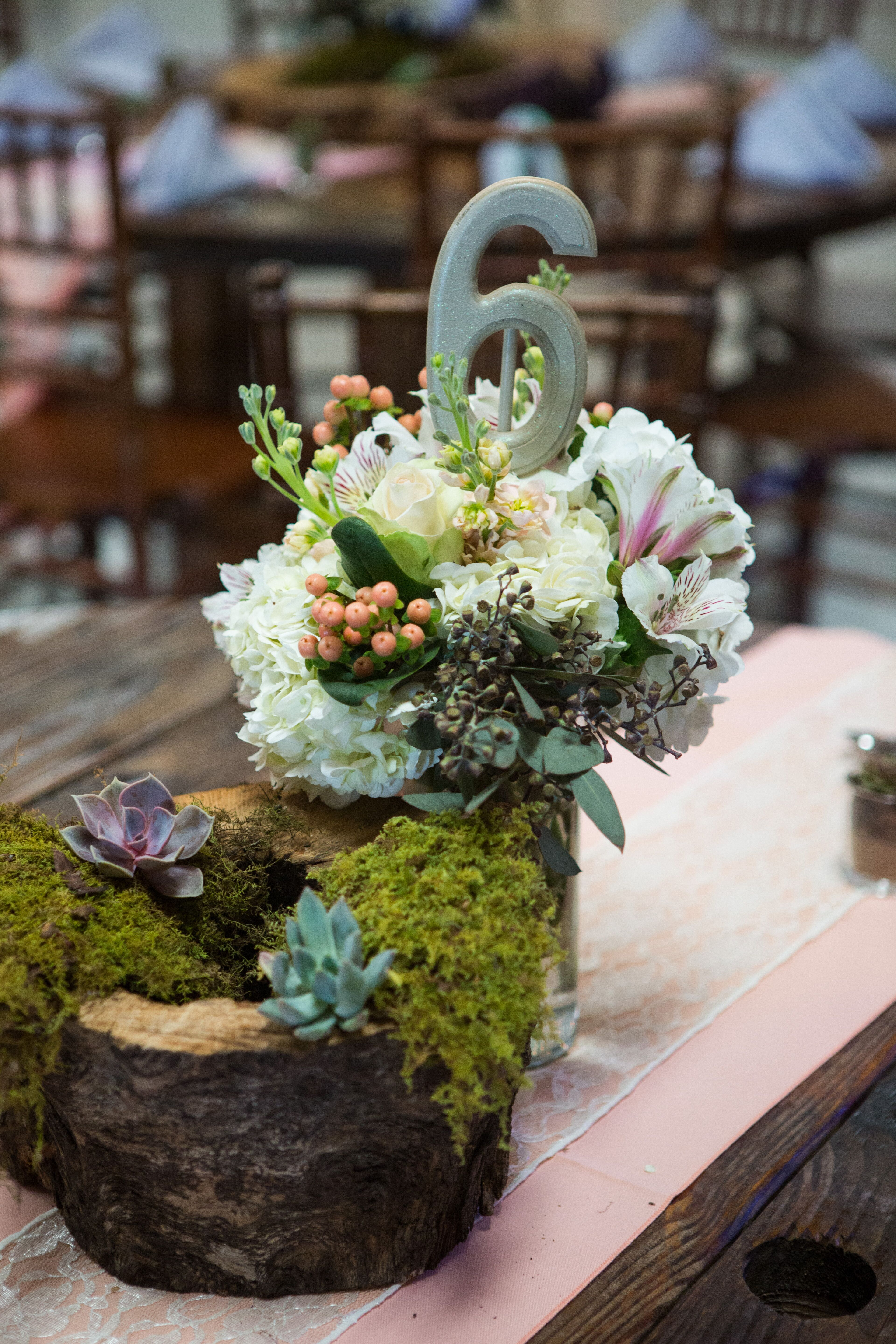 Succulents And Moss On Wood Floral Centerpiece
