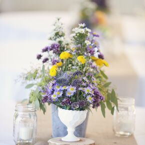 Rustic purple wedding centerpieces yellow button mums and blue thistle centerpiece junglespirit Gallery