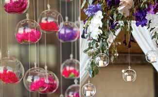 Hanging glass globe wedding decor: Q Weddings / TheKnot.com