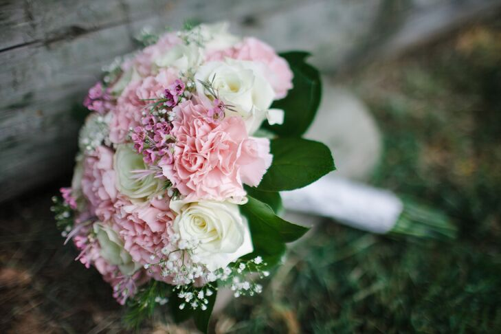 Pink carnation and baby s breath bridal bouquet