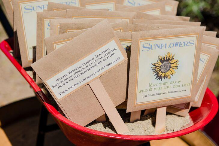 Sunflower Seed Wedding Favor With Description