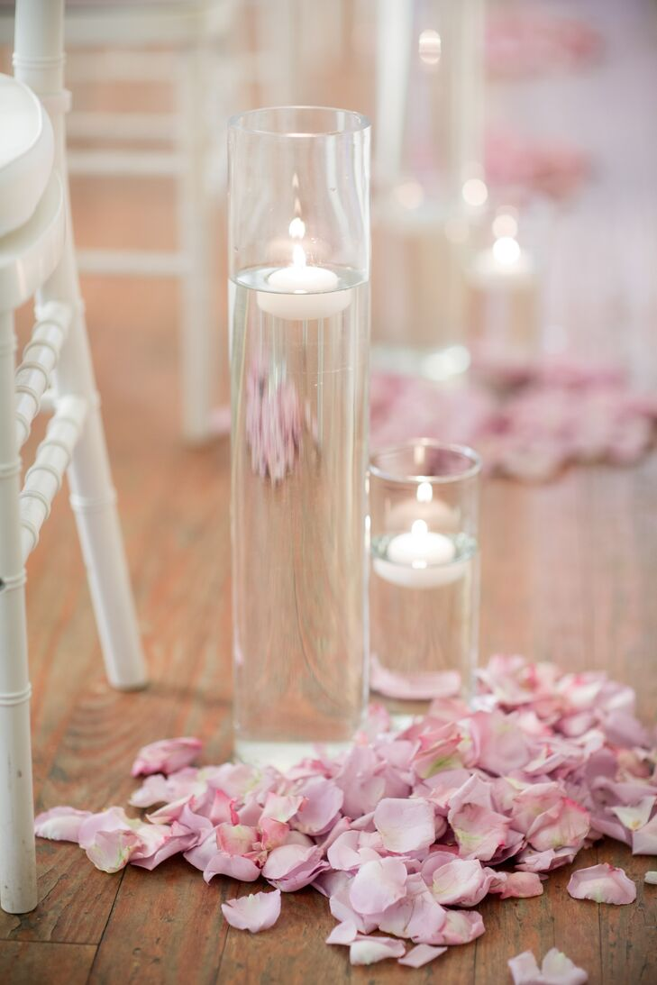 Blush Rose Petal Floating Candle Wedding Ceremony Aisle Decor