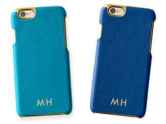 Leather iPhone case with foil monogramming