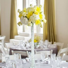 Yellow wedding centerpieces tall yellow centerpiece junglespirit Gallery