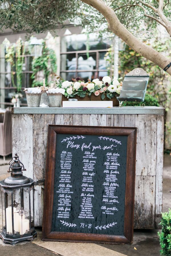 Hand-Lettered Chalkboard Seating Chart