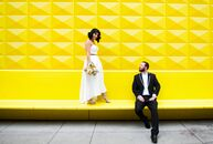 Lizanne Brovsky (29 and an aesthetician) and Loren Brinton (32 and a marketing director) wanted their midcentury modern wedding to have bright, retro