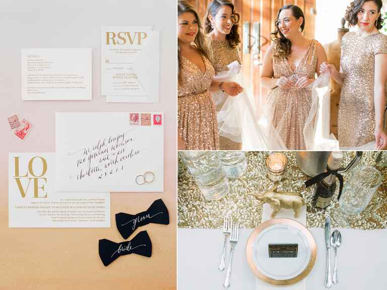 Metallic accents in wedding decor