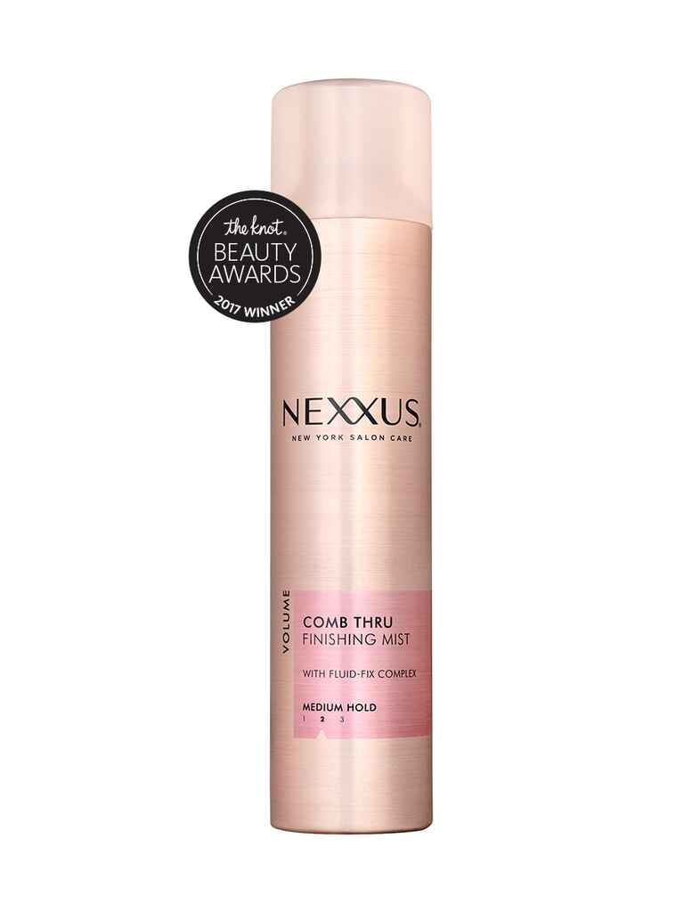 The Knot's budget pick for best volumizer is the Nexxus Comb Thru finishing mist