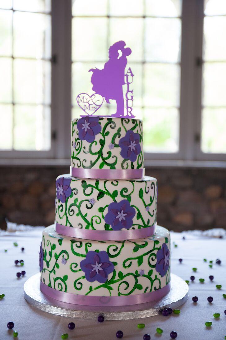 Three-Tier Purple and Green Wedding Cake
